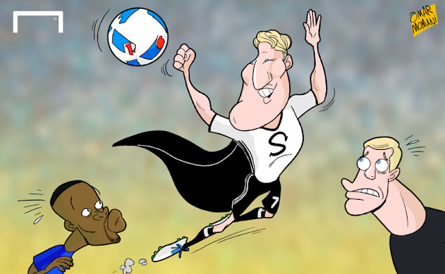 Super Schweinsteiger, Evra and Neuer cartoon