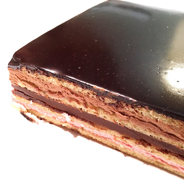 Glazed Opera Cake with Edges Trimmed