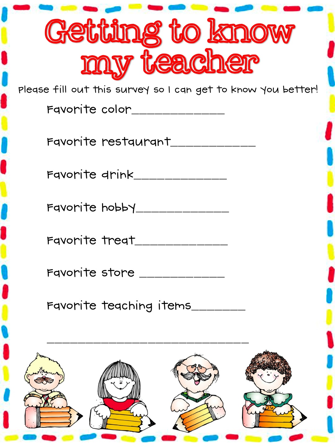 surveys to get to know someone what the teacher wants a request 4096