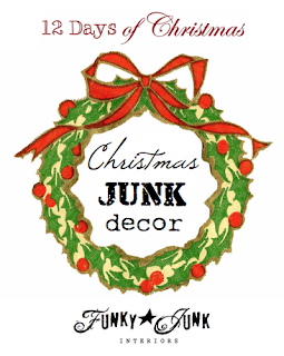 12 Days of Christmas / Christmas JUNK Decor, a themed link party via Funky Junk Interiors