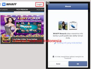 login atau masuk menggunakan facebook
