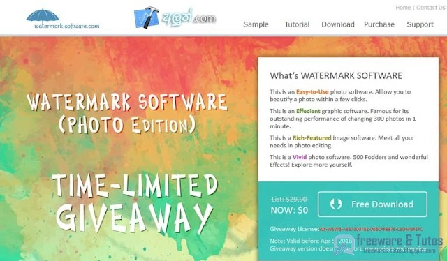 Offre promotionnelle : Watermark Software 8 gratuit !