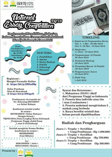 Lomba National Essay Competition Mahasiswa TQ 2018 UNNES