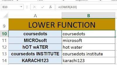 LOWER FUNCTION IN EXCEL WWW.COURSEDOTS.COM