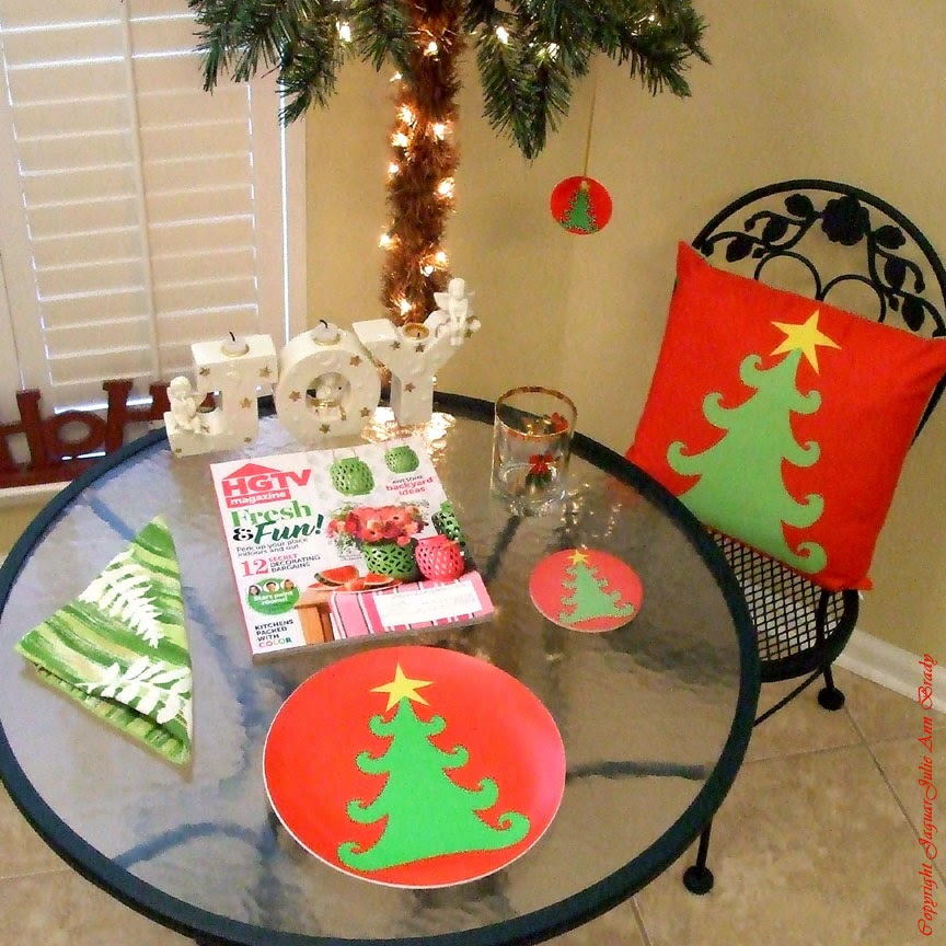Artsy Christmas Tree Decor pillow plate coaster and ornament