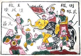 Las hermanas Trung al frente de las tropas