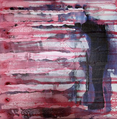 red white blue abstract painting about gun violence in America