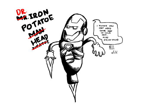 Dr. Iron Head Ink Drawing and Sketch