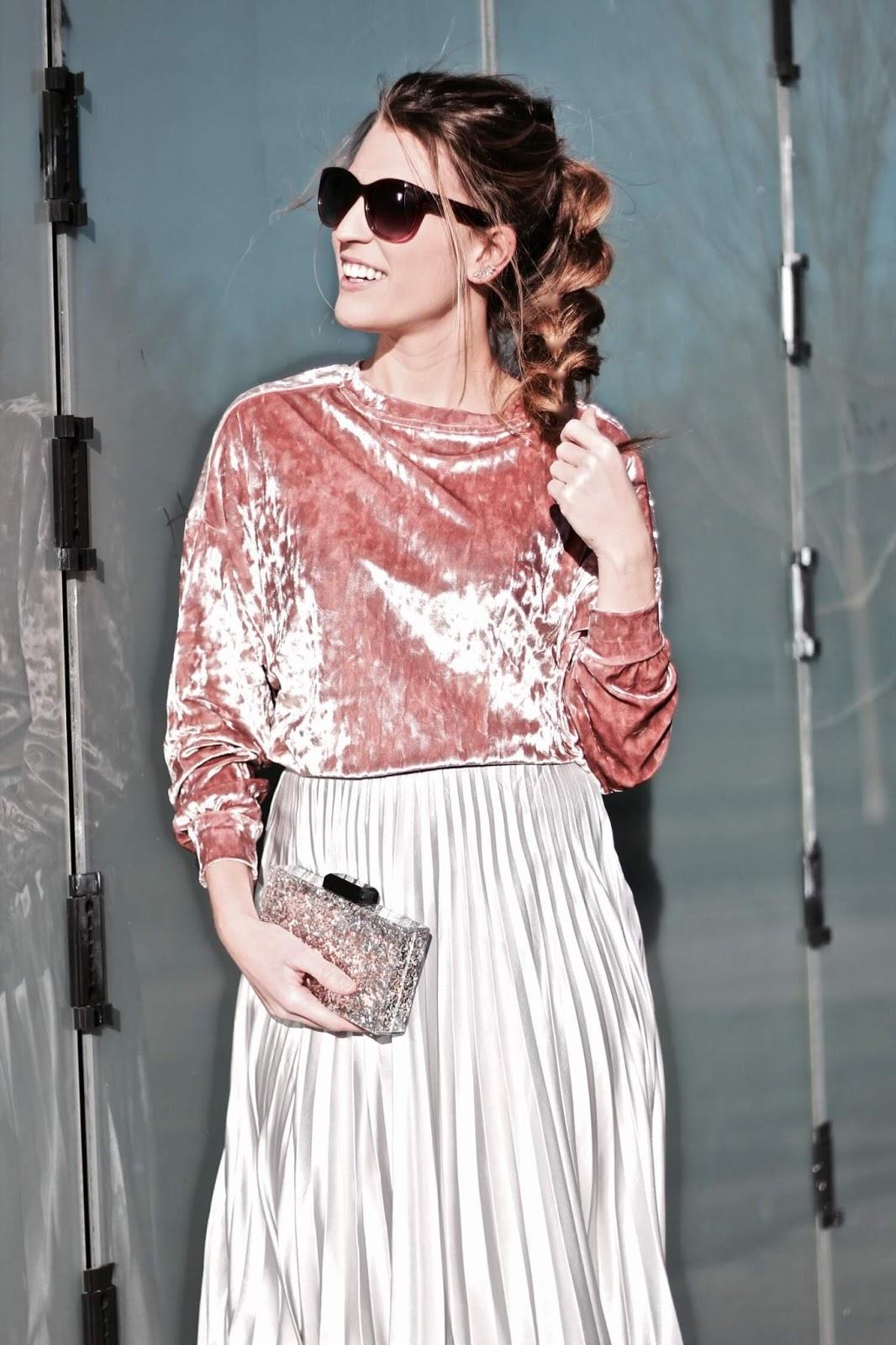 falda midi plisada metalizada