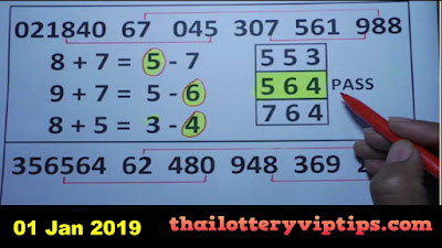 Thai Lottery 3up Set Regular Pass Formula VIP premium 01 January 2019