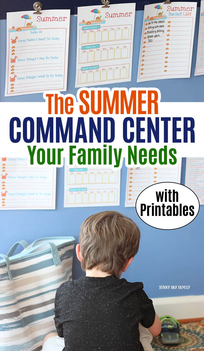 Help kids transition to summer with this summer family command center! Use these summer activity planner printables to create an amazing command center for kids. Help kids be independent and manage chores, free time, and summer fun with this visual guide. Perfect for summer vacation! #summerbreak #commandcenter #planner #forkids #printables