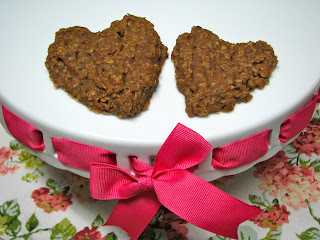 No bake oatmeal cookies in the shape of a heart