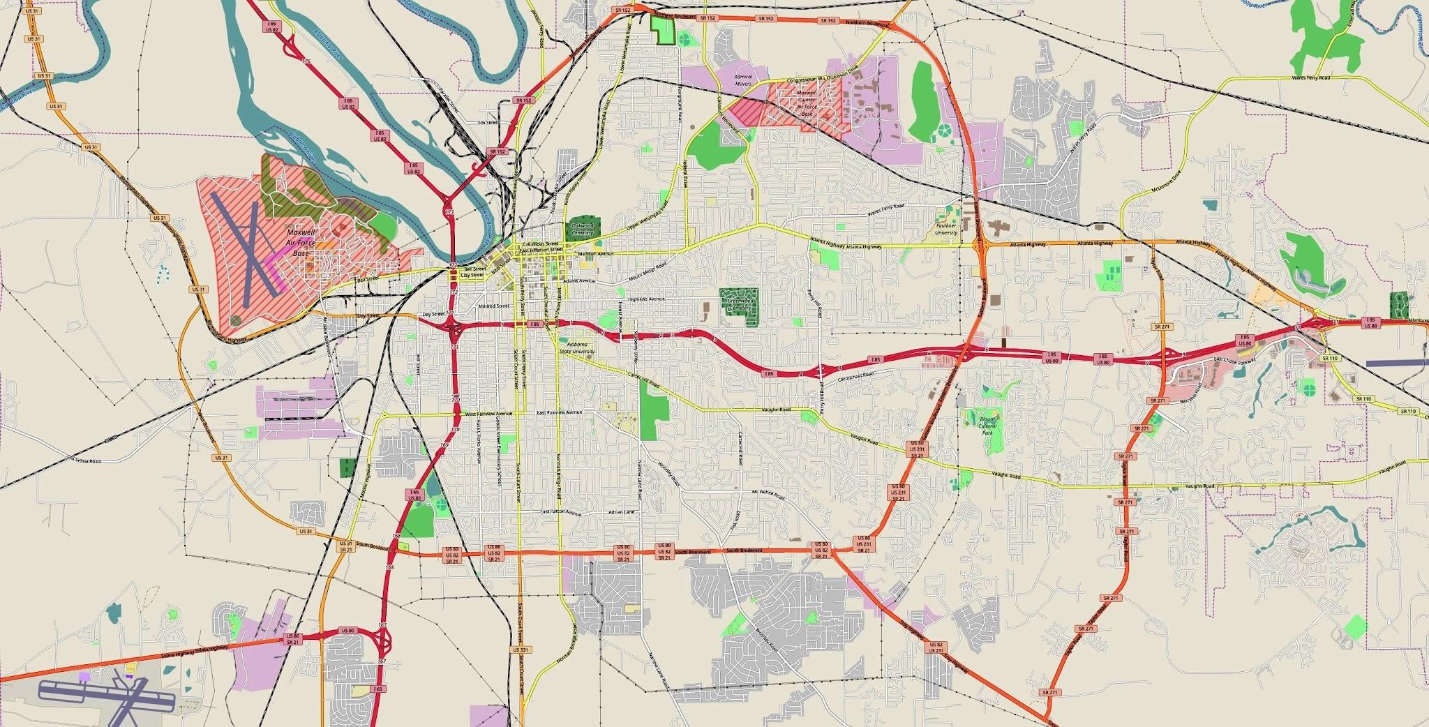 Montgomery Map (Alabama) - Car Radio   GPS