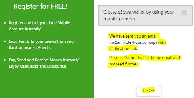 How to Create eSewa Account-- close registration form of eSewa