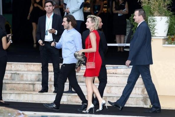 Jazmin Grace Grimaldi attended the Amber Lounge fashion and charity event  of the Formula 1 Monaco Grand Prix, Jazmin Garimaldi wore red dress