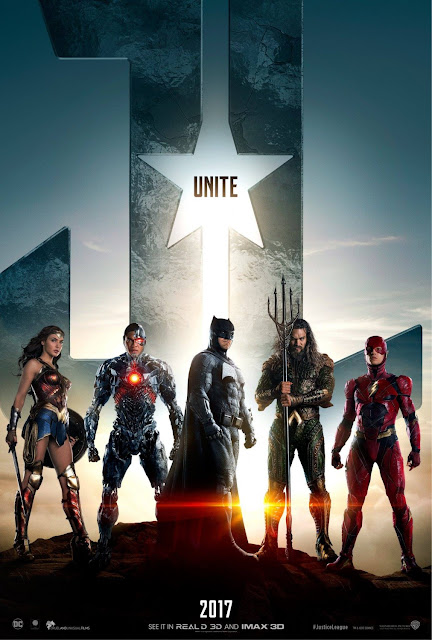Justice League Character Movie Poster Set - Batman, Wonder Woman, Aquaman, The Flash & Cyborg