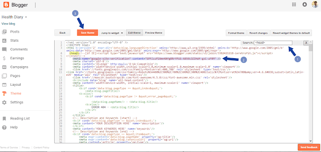 Verifying blog with Google