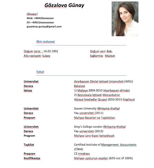 curriculum vitae azerbaycanca