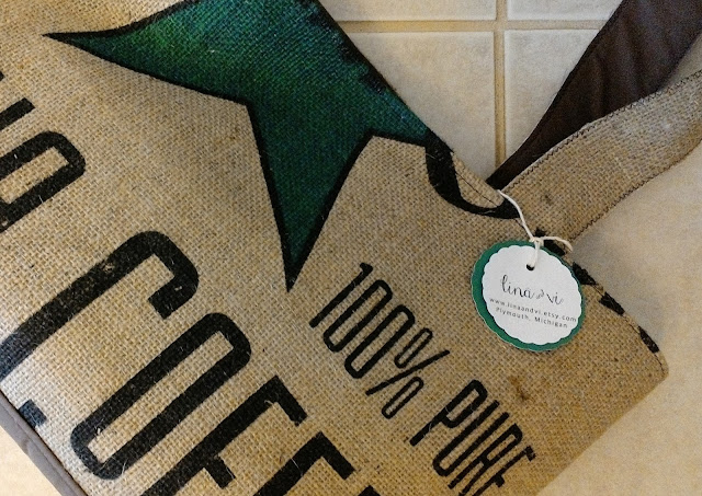 Kona Burlap Coffee Tote Bag by Lina and Vi, Plymouth MI - handmade, repurposed