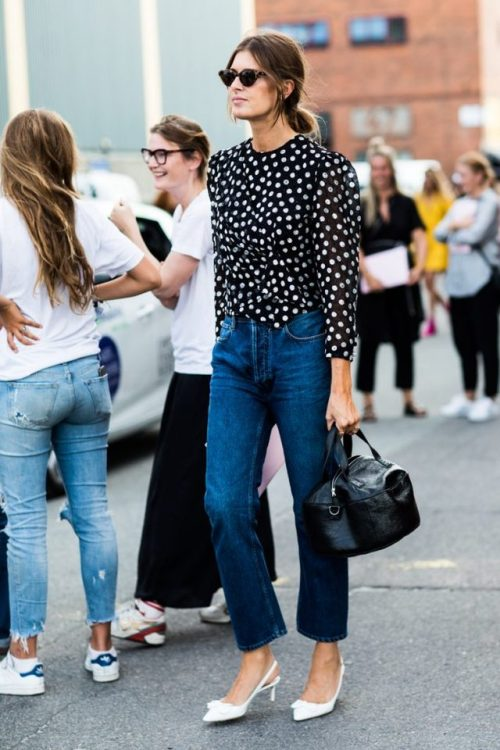 Polka dots shirt and jeans