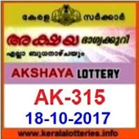18.10.2017 Kerala Lottery Result of Akshaya AK-315