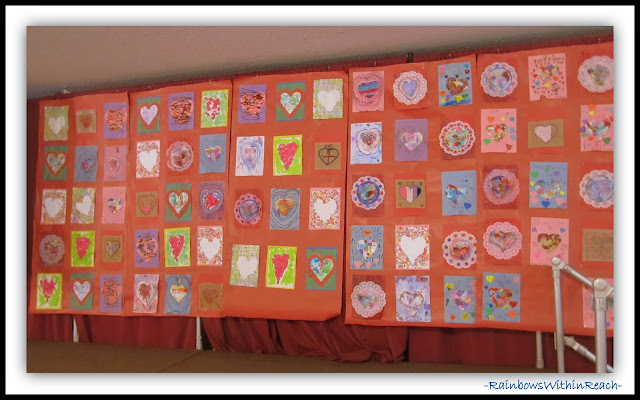 One half of the Collaborative Valentine's Day Quilt created for Author visit with Debbie Clement