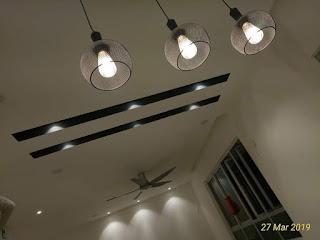 Selepas siap mengecat siling gantung serta wiring lampu dan kipas di ruang tamu