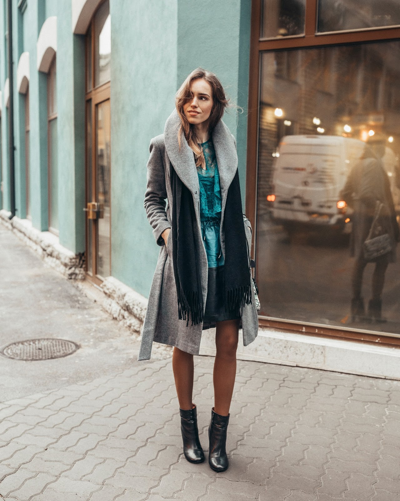 grey coat blue dress winter outfit