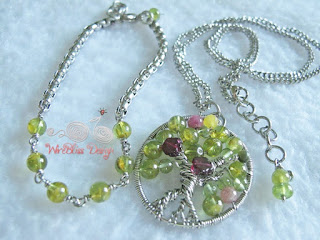 Wire Wrapped Tree of Life Pendant and matching bracelet with peridot, garnet and tourmaline