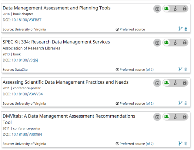 "Figure 3: By clicking on the author's ORCID iD URI in LibraOpen, we can see the work listed on the individual's ORCID record, with ""University of Virginia"" as the source of the data, which means that the author gave permission for UVA to write to their ORCID record. This saves time for the author, ensures the integrity of metadata, and contributes trustworthy data back to the scholarly communication ecosystem that can then be used by other systems connected with ORCID. Image courtesy of Sherry Lake, UVA https://orcid.org/0000-0002-5660-2970"