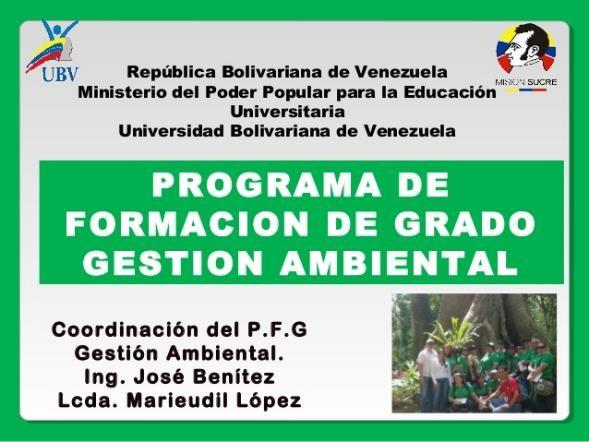 programa de formación de grado gestion ambiental ubv