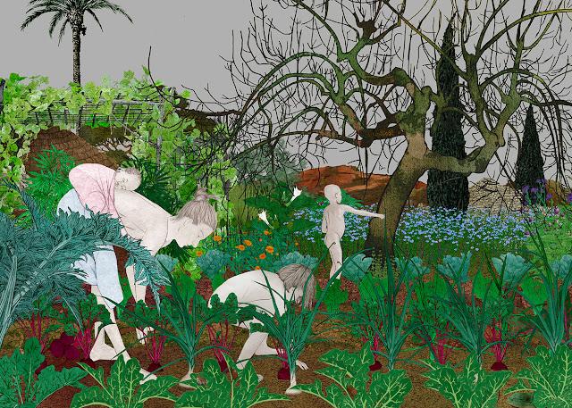 trabajando en el huerto, nabos , mujer y niños