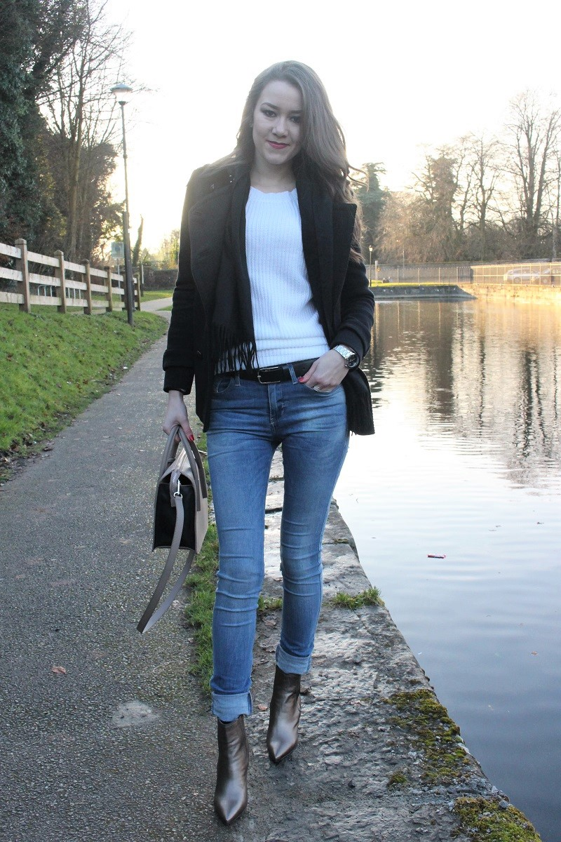 black coat, massimo dutti, white sweater, long hair, diesel jeans