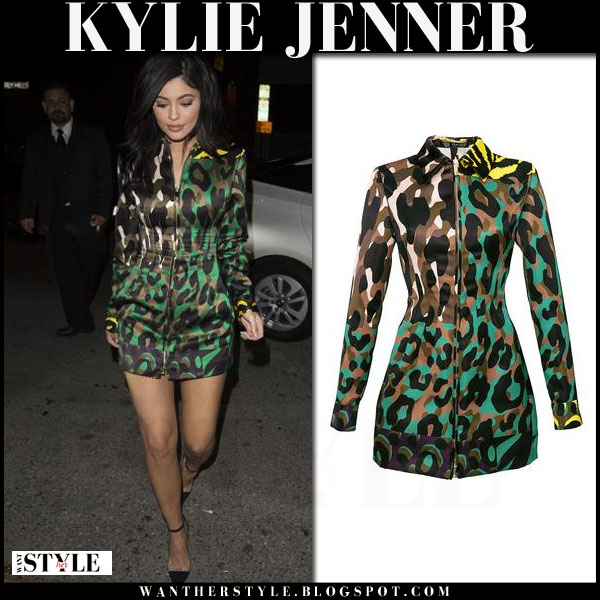 Kylie Jenner in green camouflage print mini dress coat versace animalier what she wore night out