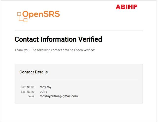 Selesai verifikasi dari domain di exabytes.