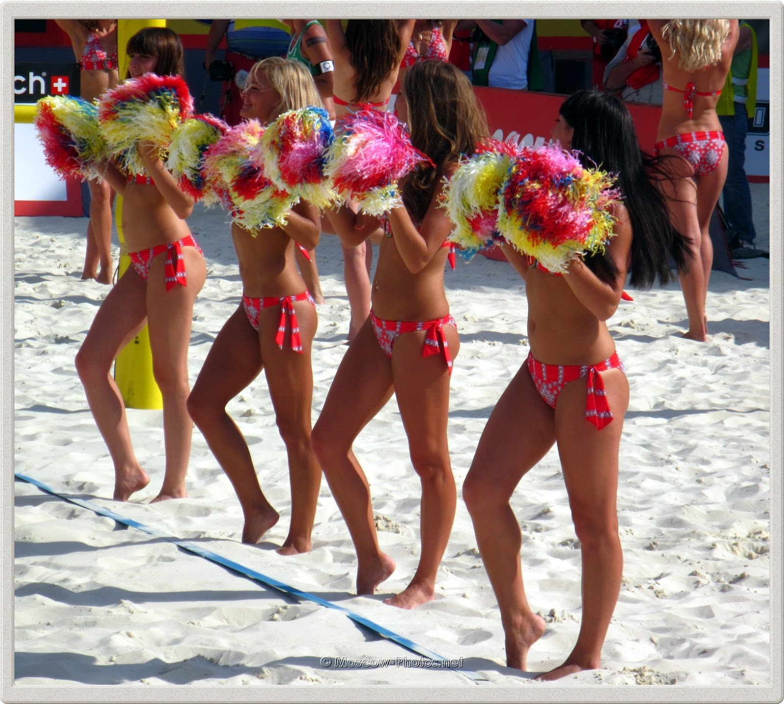 Beach Volleyball Red Bikini Cheerleaders