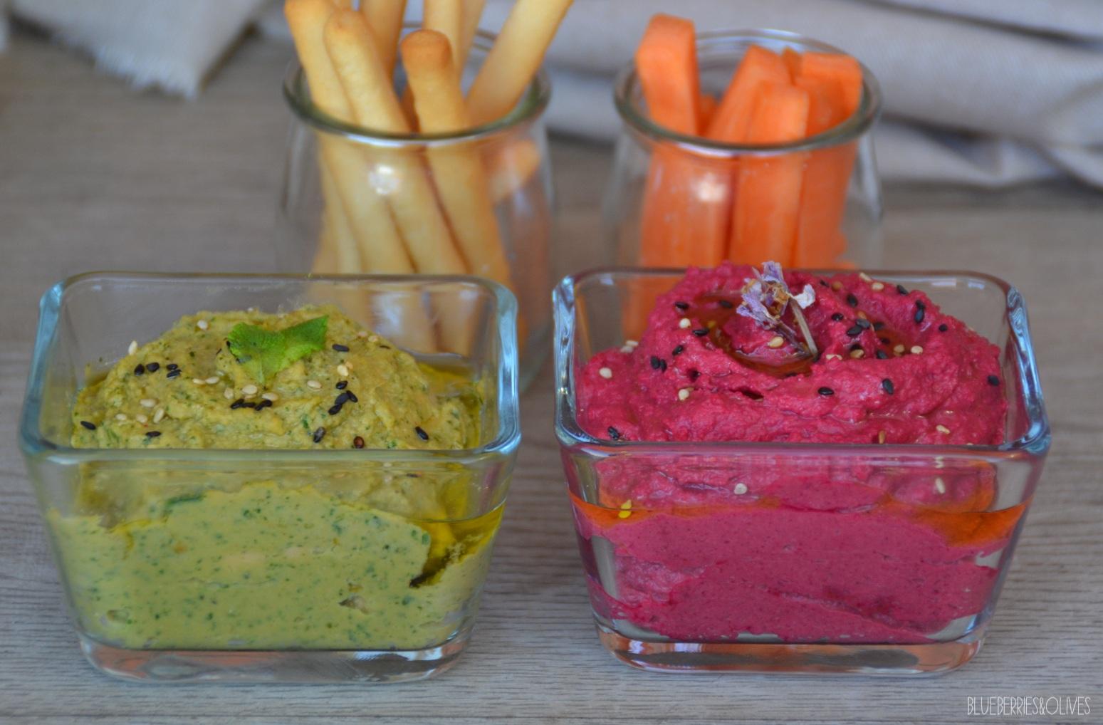 Hummus colorido de espinacas y remolacha 1