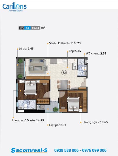 Mặt bằng thiết kế căn hộ B với 2 phòng ngủ dự án Carillon 5.