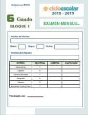 Examen del Bloque I Octubre Sexto grado 2018-2019