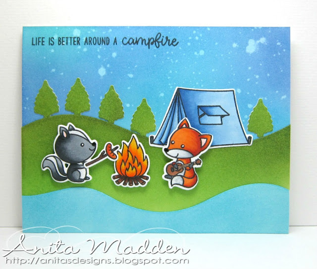 Sunny Studio Stamps: Beach Babies Happy Camper Critter Campout Summer Themed Cards by Anita Madden