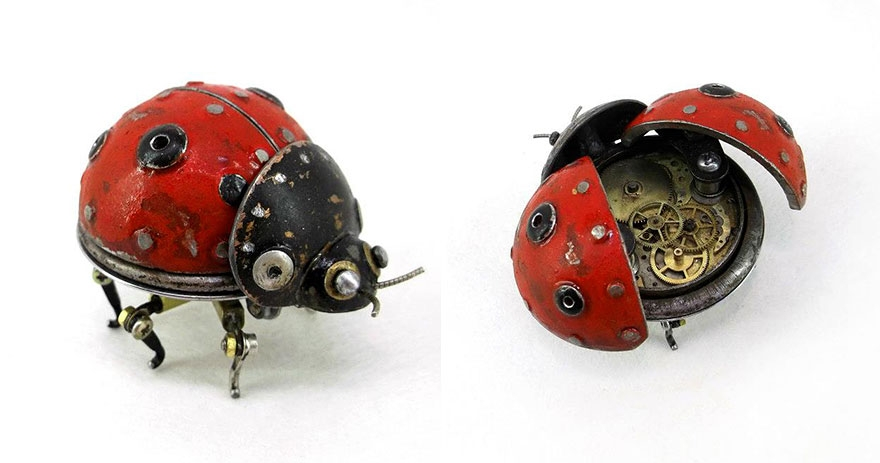 12-Lady-Bug-Igor-Verniy-Recycled-and-Upcycled-Animal-Steampunk-Sculptures-www-designstack-co