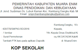 Format Surat Permohonan Tambah PTK Baru Pada Dapodik Terbaru