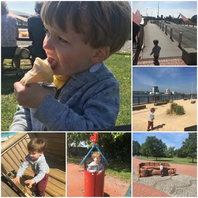 toddler-eating-icecream-and-playing-in-park-in-Cardiff-Bay