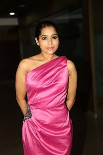 Rashmi Gutam in a lovely Pink One Shoulder Short Dress at Savitri Audio Launch