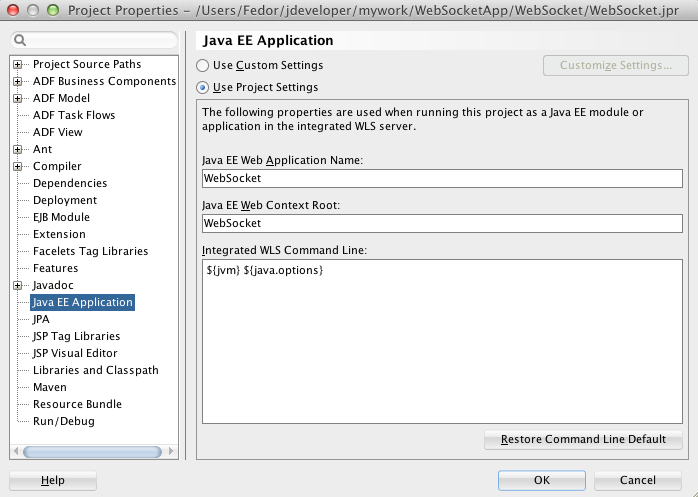 ADF Practice: Using Java API for WebSockets in JDeveloper 12 1 3