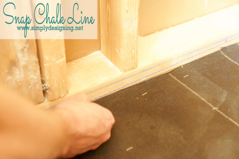 Snap Chalk Line | How to create your own shower pan. Pin for next home project! |  @thetileshop #thetileshop #tile #bathroom #shower #diy #remodel