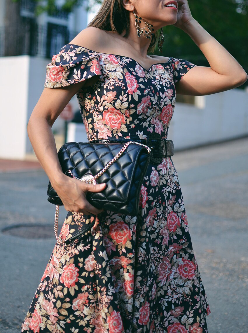 Outfit With Black Floral Dress