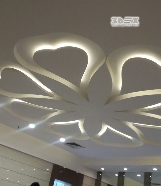 POP Design False Ceiling Designs For Living Room With LED Indirect Lighting  Ideas