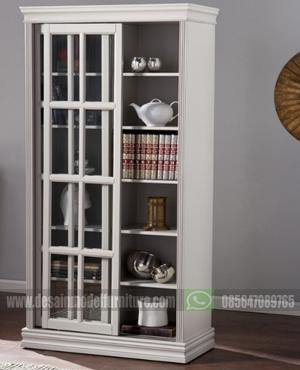 Lemari hias kaca sliding minimalis modern duco putih