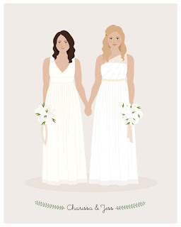first anniversary gift personalized drawing of wedding dresses